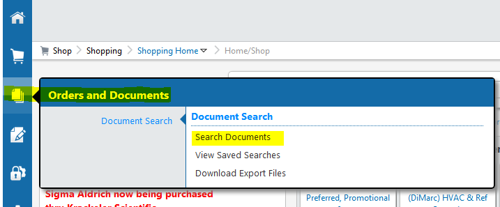 Click the Orders and Documents icon on the left side of the e-SHOP home page aa78f908ba1