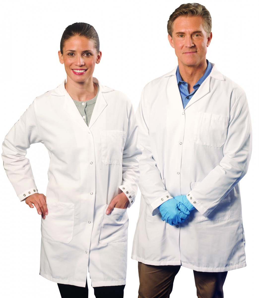 A man and a woman wearing white lab coats.