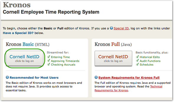 Log on, Enter Time/ Leave, Approve Timecards | Cornell University ...
